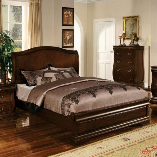 Smile Brunswick Transitional Cottage Style Dark Walnut Finish King Size Bed Frame Set