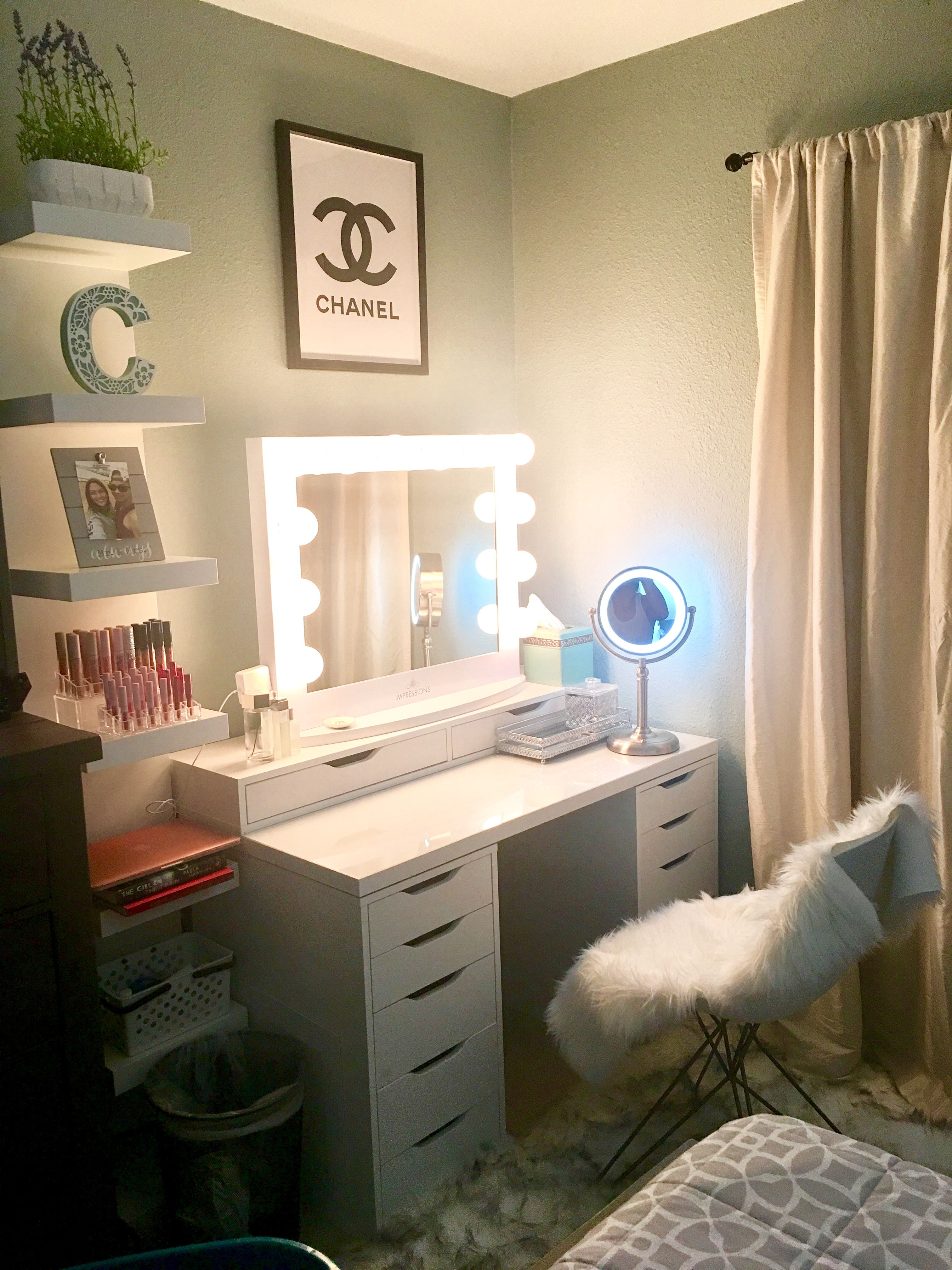 Impressions Vanity Mirror Ikea Alex Drawers Hollywood Style Chanel Diy Frame Lighted Makeup Organization Slay Station