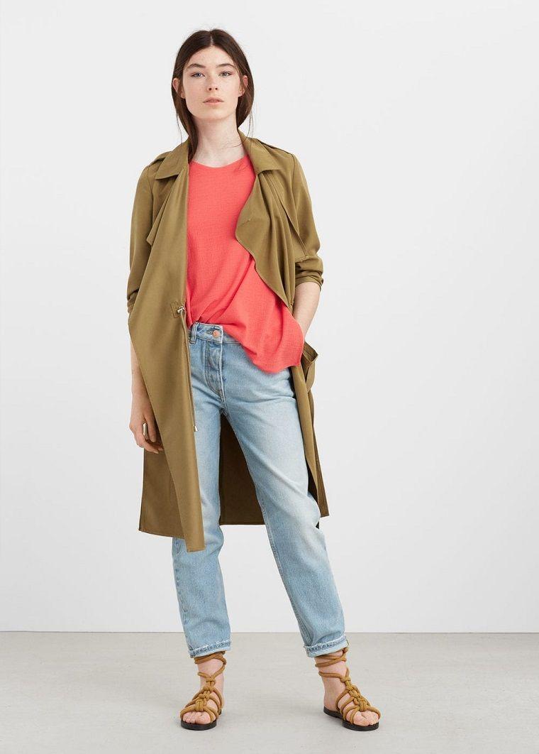 Per Vestiti Abbinamento Con Vintage Donna Jeans Colori Di Trench O6wHFzx
