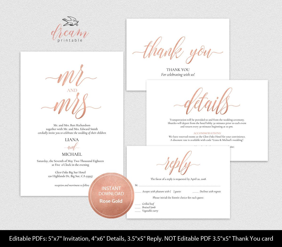 Instant Download Editable Pdf Template Set 5x7 Invitation 4x6 Details 3 5x5 Reply Rsvp 3 5x5 Tent Style Than Pdf Templates Wedding Printables Reception Signs