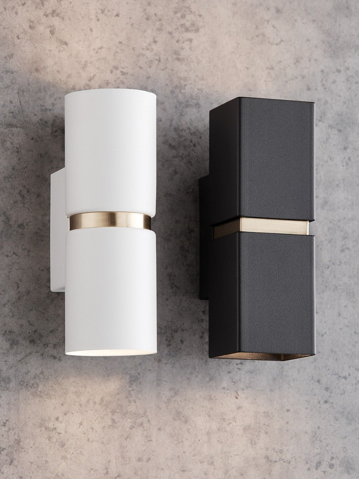 Lighting Wall Lights Baristo 2 Light Up Down Round Wall Bracket In White Brass Wall