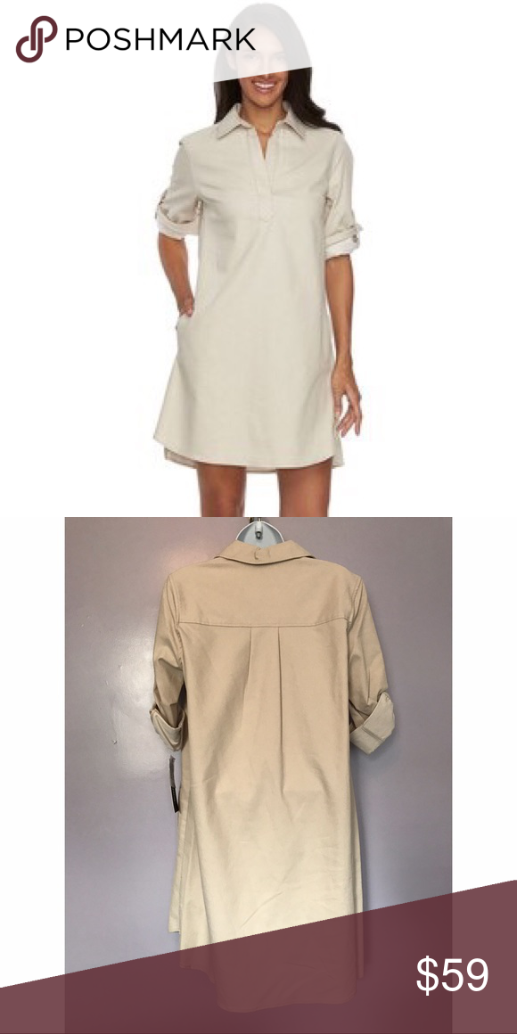 d21e7da9027  Sharagano  Roll Tab Sleeve Shirt Dress Sharagano dresses add modern style  your wardrobe.