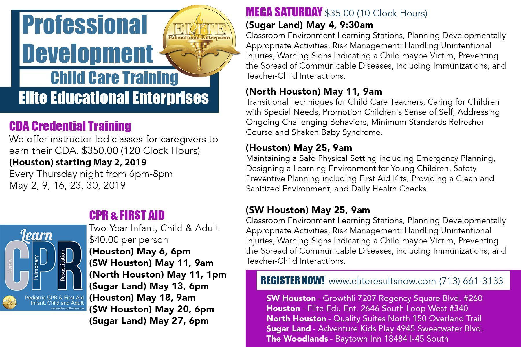 Houston surrounding areas trainings child care