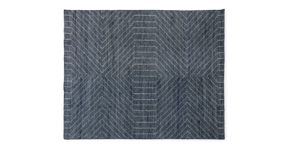 Parallel Wave Blue White Rug 8 X 10 Blue And White Rug Grey
