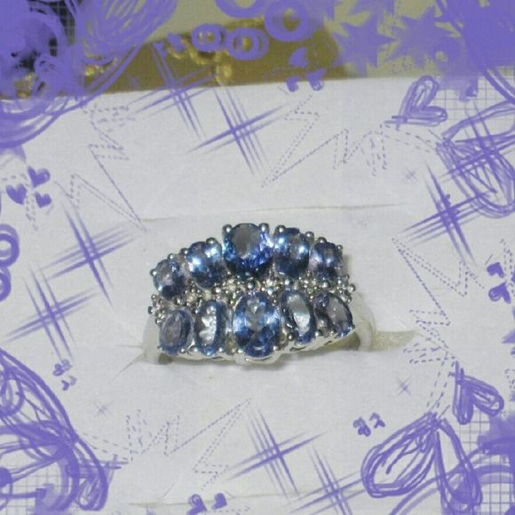 Tanzanite Large Stone Ring Sterling Silver 2.55 cts  of Beautiful Tanzanite Stones Grace this platinum over .925 sterling silver ring. Jewelry Rings