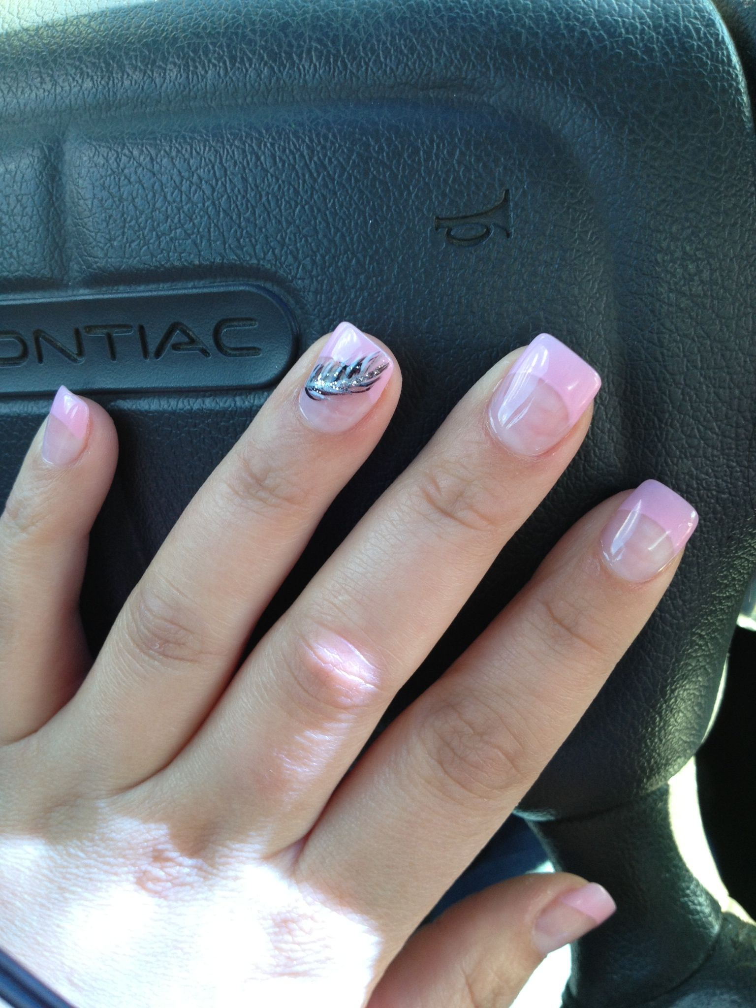 Baby Pink Tips With Black And White Feather French Acrylic Nails White Tip Nails Fake Nails