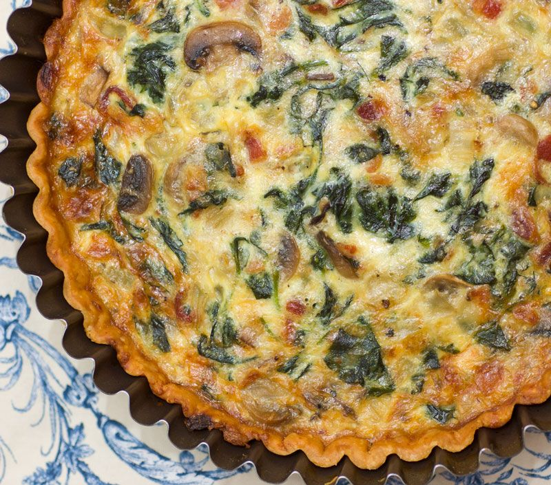 Quiche Lorraine - Recipe calls for mushrooms, bacon, onions, spinach, Gruyere cheese -  for low carb use favorite crust (or crustless), replace milk with 1/2 cream 1/2 water, and sub the 1 T. flour.