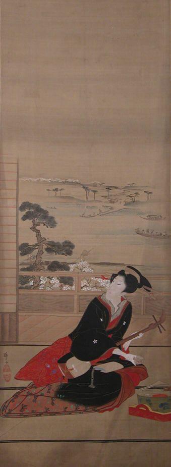 Geisha Playing a Shamisen