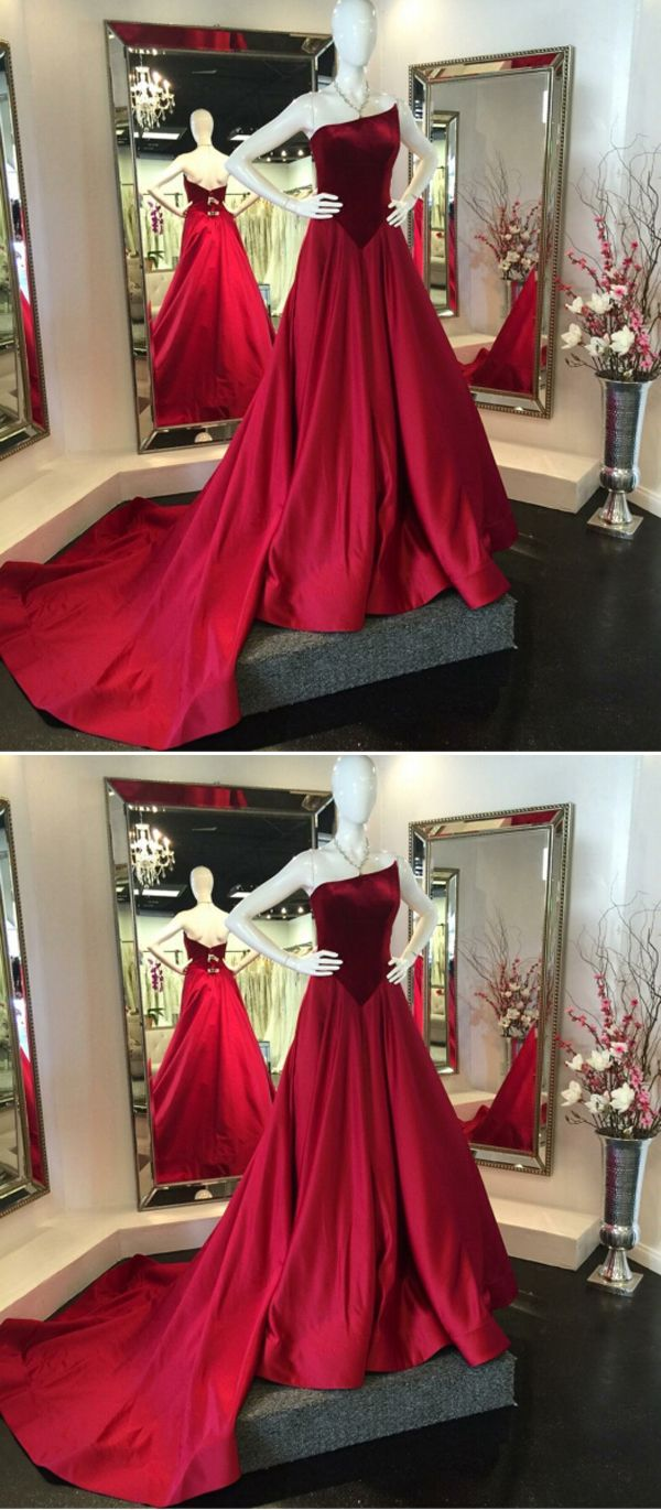 Unique aline strapless red satin sweep train prom dress with velvet