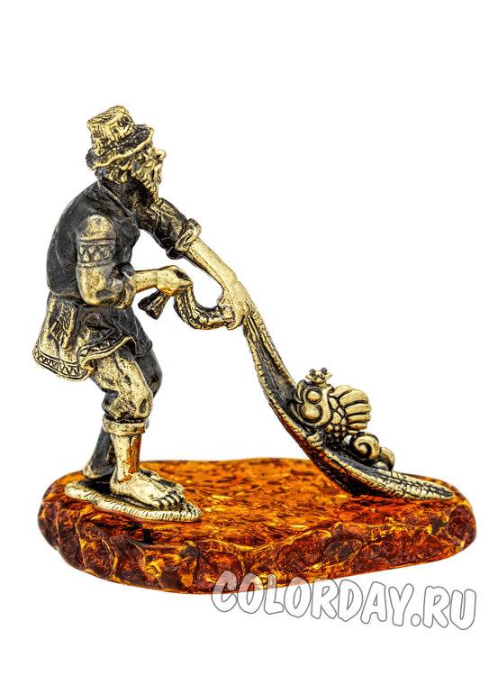фигурка Старик с Неводом и Рыбка бронза на янтаре купить в ...