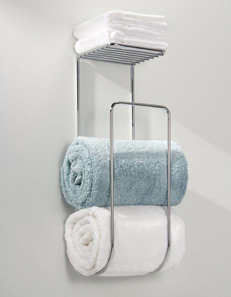 Wall Mounted Towel Rack Bathroom Shelf Organizer Holder Hotel Bath
