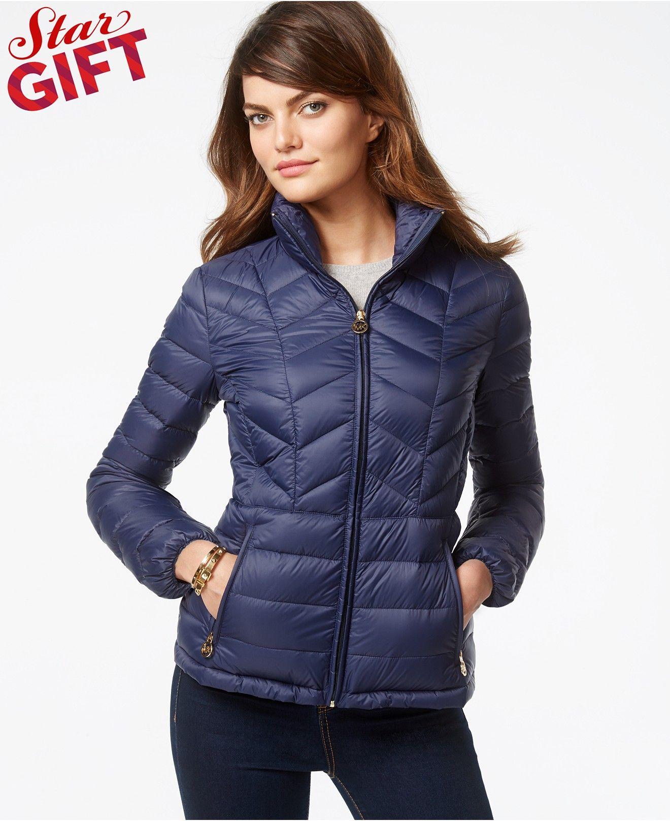 MICHAEL Michael Kors Chevron-Quilted Packable Down Jacket - Coats ...