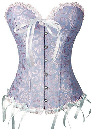 c2a3cce97f3 Amazon.com  Zanuce Women s Sexy Satin Boned Lace Up Overbust Plus Size  Corsets Bustier  Clothing
