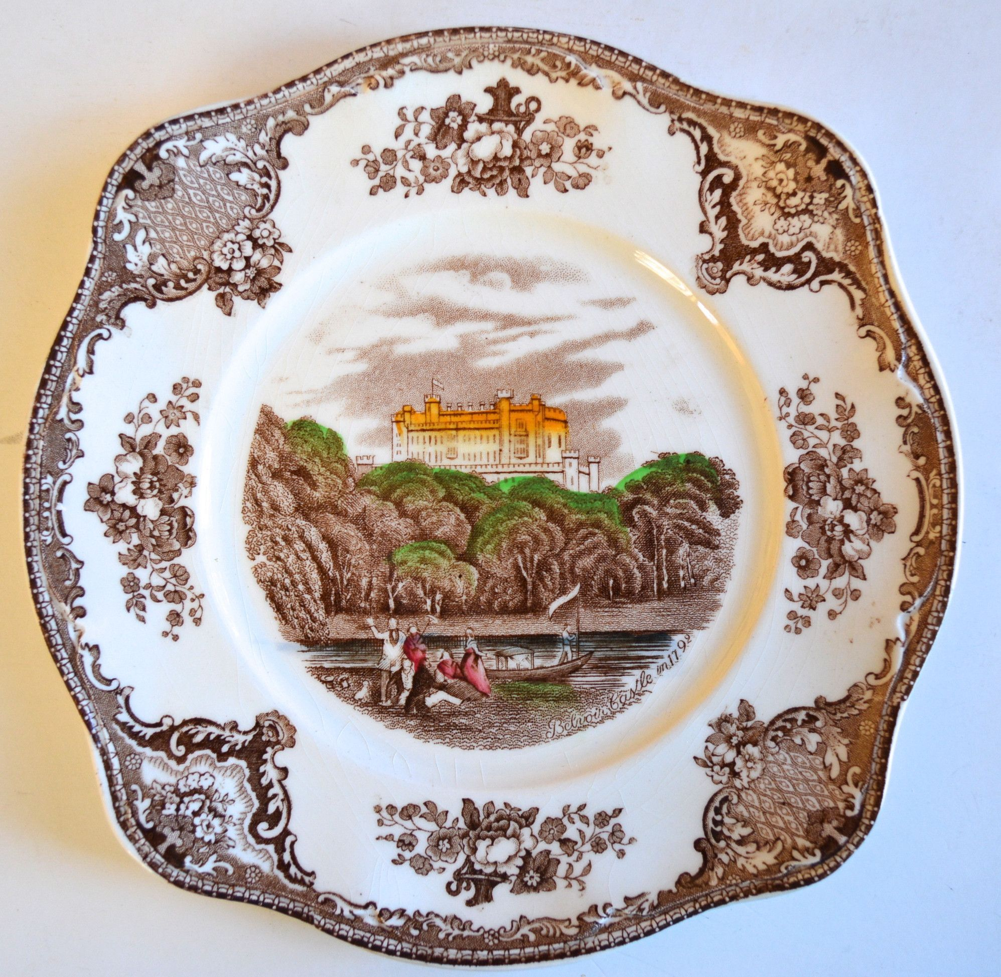 Vintage Brown Transferware Square Plate Roses Belvoir Castle Picnic