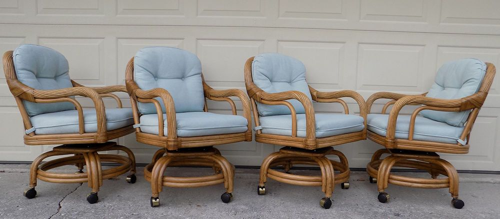 4 Rattan Swivel Arm Chairs Lane Venture Collection Mcguire Ficks Reed Era Bamboo