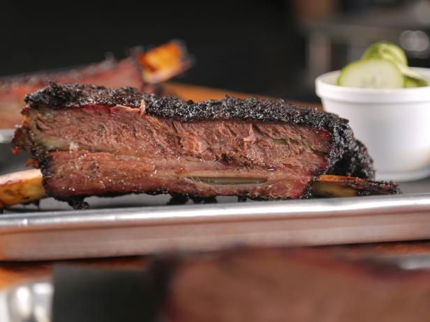 Porter S Smoked Dino Beef Ribs Recipe Beef Ribs Food Network Recipes Smoked Beef Ribs