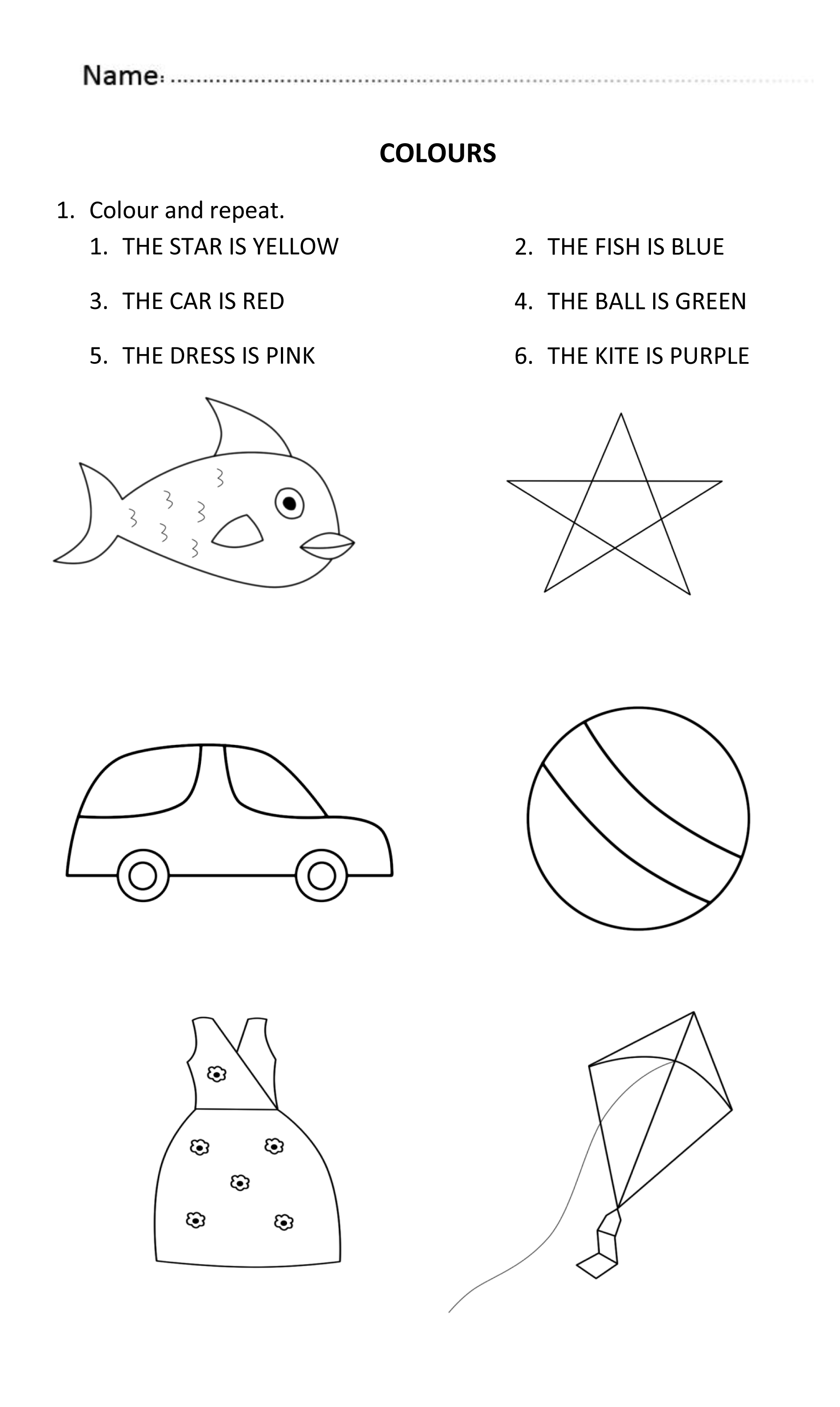 Colours worksheet for 5 and 6 years old. LearningColours