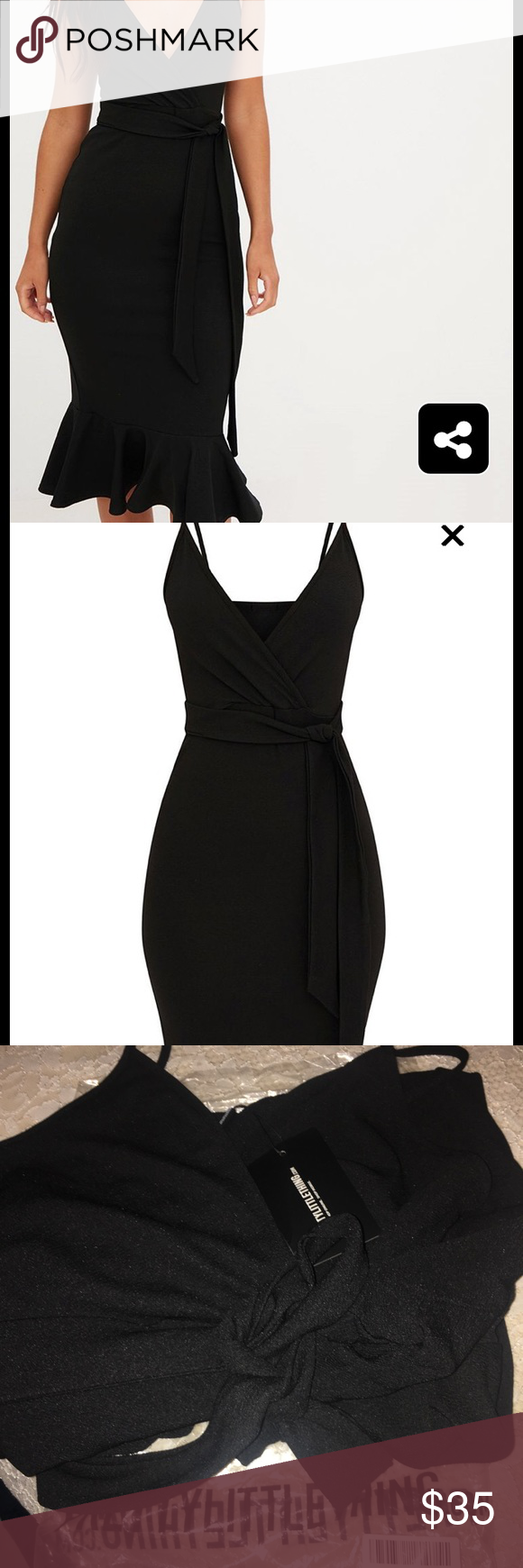 18e94ee45ae2 PRETTYLITTLETHING dress Style : BLACK STRAPPY TIE WAIST FISHTAIL MIDI DRESS  Never been worn , I bought the wrong size PrettyLittleThing Dresses Midi