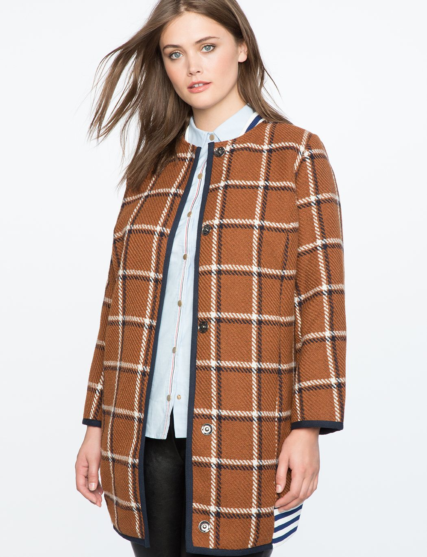 Sport Stripe Long Bomber Jacket Women S Plus Size Coats Jackets Eloquii Long Bomber Jacket Plus Size Coats Bomber Jacket Women [ 1370 x 1050 Pixel ]