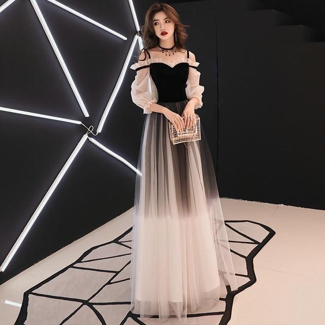 Spaghetti Strap V-neck Wine Red Evening Dress Velour Tulle Party Long Dress