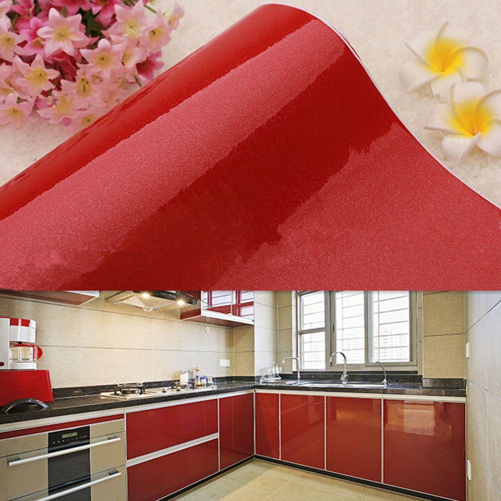 1 99 Gbp Self Adhesive Wallpaper Cupboard Kitchen Door Cover Vinyl Wall Sticker Roll Red Eb Kitchen Wallpaper Kitchen Cabinets Makeover Wallpaper Furniture