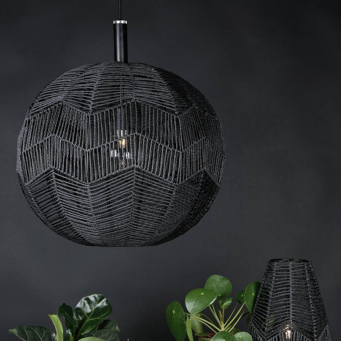 Suspension Rotin Noir ˜45cm MISSY Suspension Globen Lighting Anna