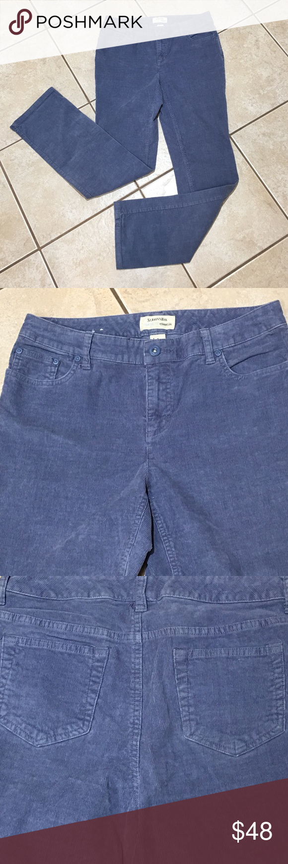 """ST. JOHN'S BAY CLASSIC FIT straight leg I am selling a pair of St. John's Bay straight leg blue cords... if you love St. John's you will love the classic fit ...the color... and the cord to give you that fall winter cover and style...rise 8 3/4"""" inseam 31"""" St. John's Bay Jeans Straight Leg"""