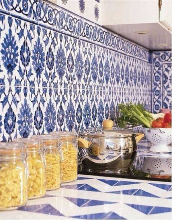 Beautiful Moroccan Backsplash Ideas Blue White Ceramic Tiles Pinned By Chirenovation Www