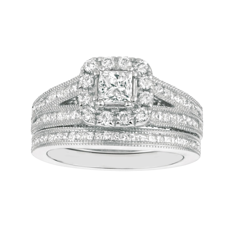 14K White Gold Princess Channel Set 1.75 ct Diamond Engagement Wedding Ring