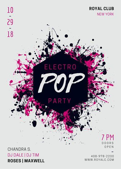 Electro Pop Music Party Flyer CANVA Pinterest Music party - music flyer