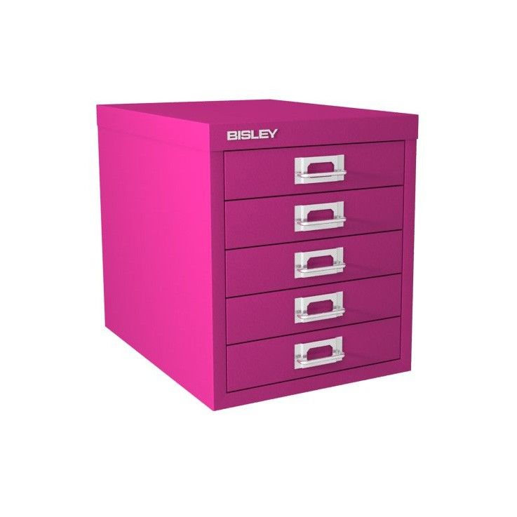 5 Drawer Bisley Multi Drawer Cabinet Fuchsia Drawer Unit Under Desk Storage Drawers
