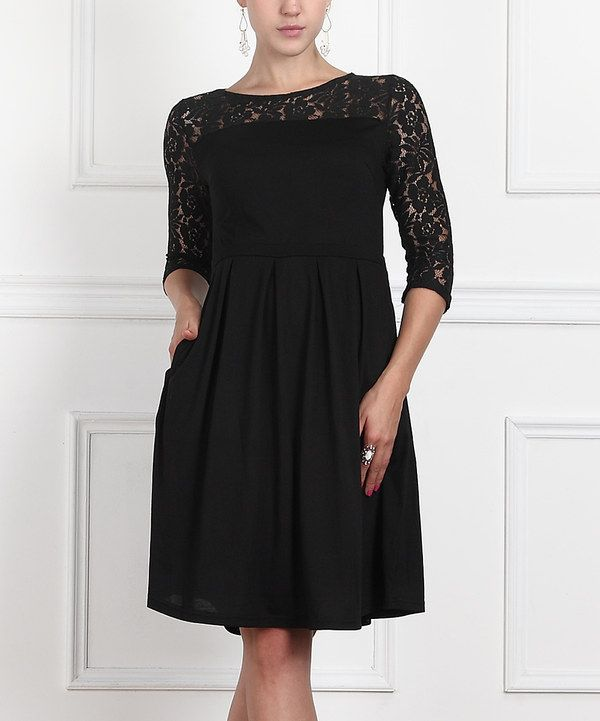 Look At This Black Lace Three Quarter Sleeve Dress Women On