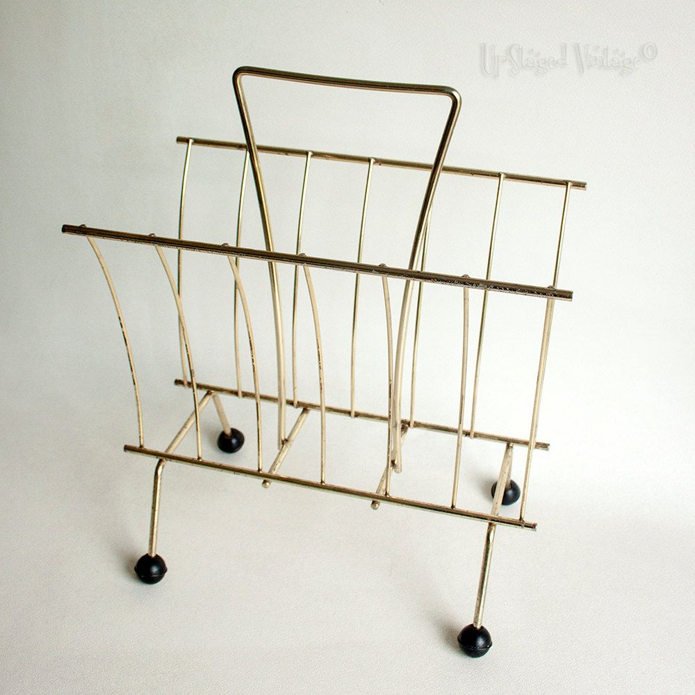 Vintage 1960s/70s Atomic Retro Brass Wire Magazine Rack & Ball Feet ...