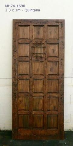Quintana Exterior Rustic Front Door Mexican Wood Hand Forged