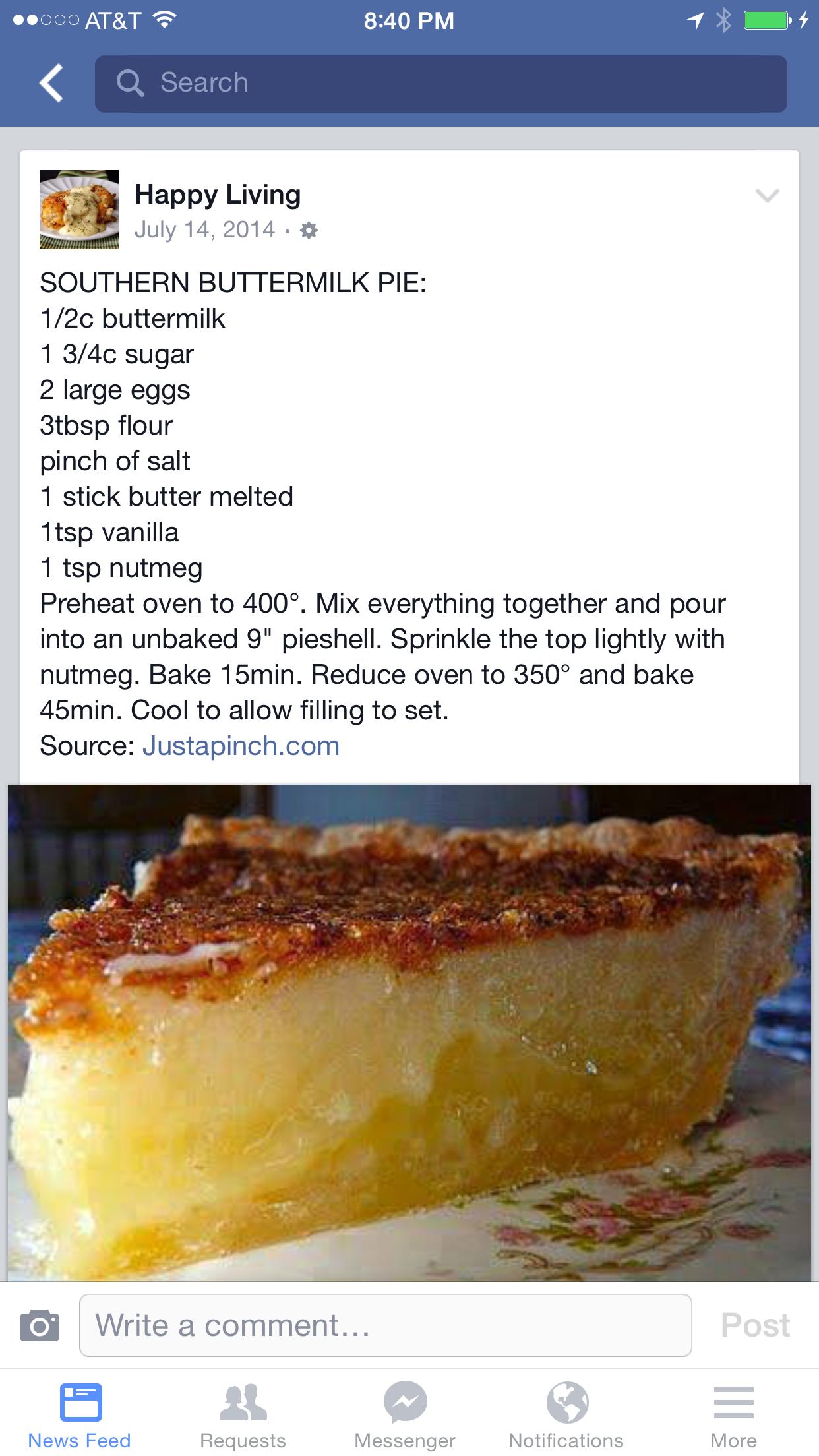 Southern Buttermilk Pie Desserts Dessert Recipes Buttermilk Pie