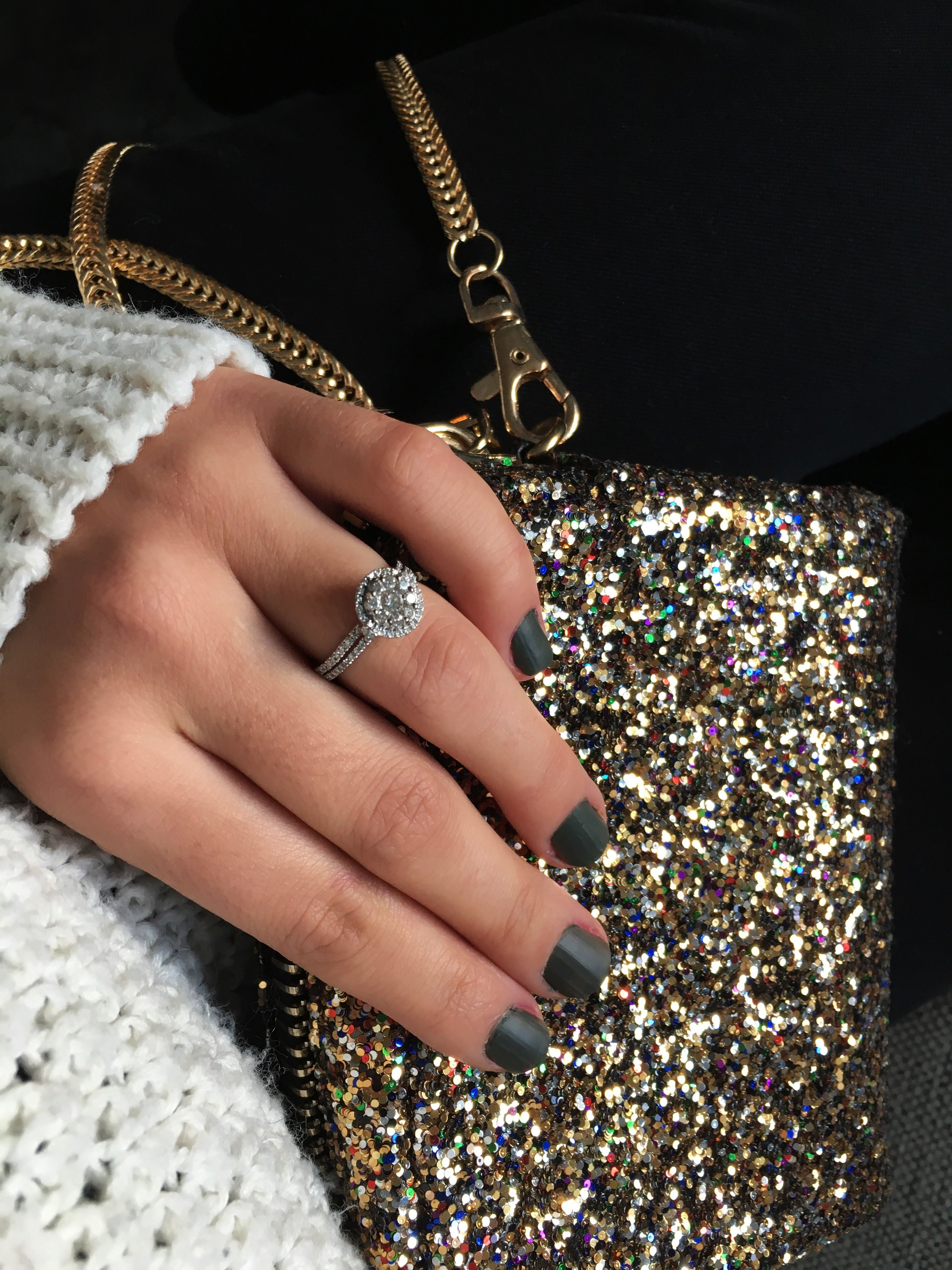 A few of my favourite things - matte nail polish, sequin purse and my wedding ring