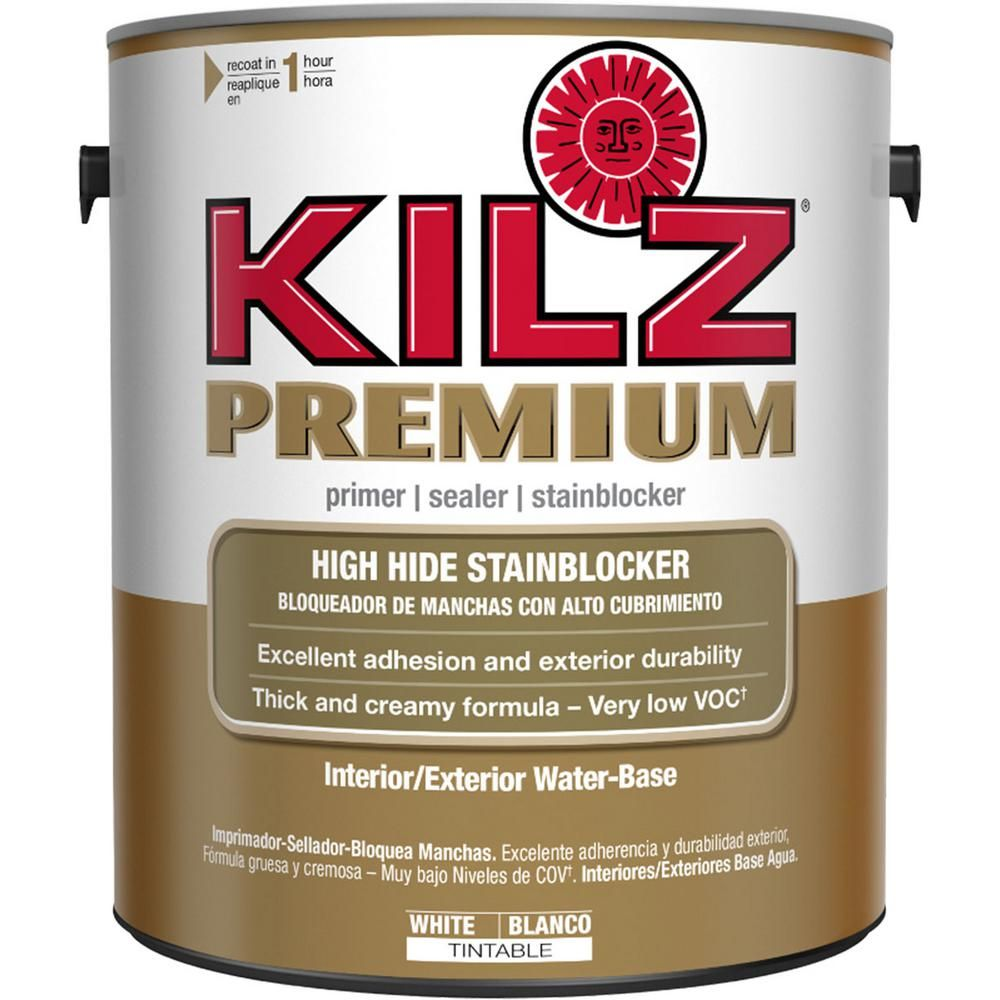 Kilz Premium 1 Gal White Interior Exterior Primer Heavy Duty High Hide Sealer And Stain Blocker 13941 The Home Depot Exterior Primer Kilz Primer Sealer