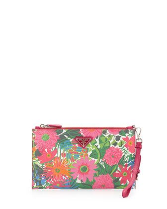 f34ef770aeaef4 Floral-Print+Saffiano+Wristlet,+Multi+(Pink+dis+Primule)+by+Prada +at+Neiman+Marcus.