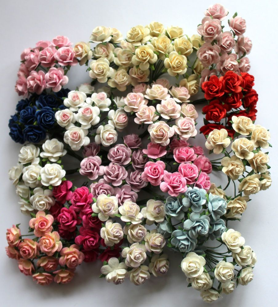 Details About Mulberry Paper Rose Flowers X10 15mm With Wire Stems