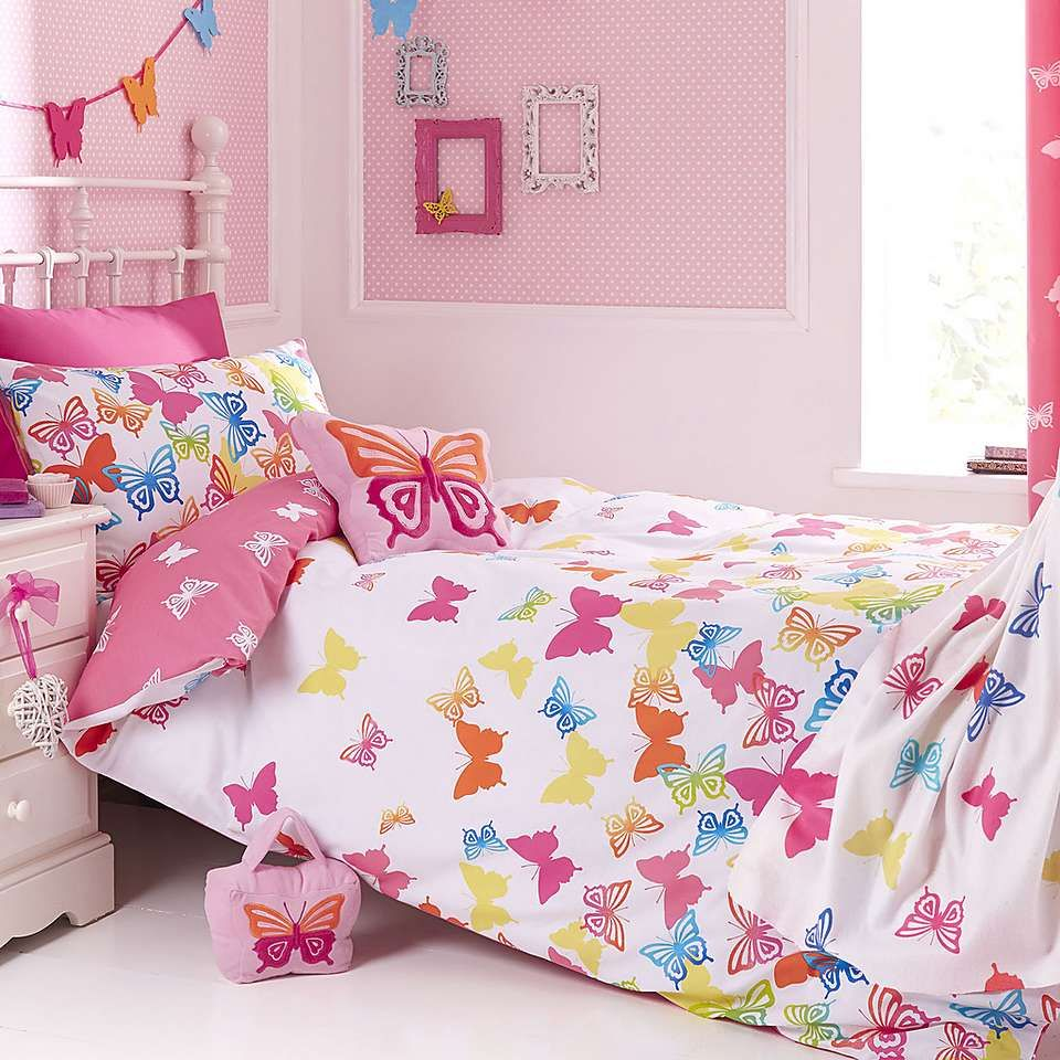 Kids Bright Erflies Duvet Cover Set Dunelm