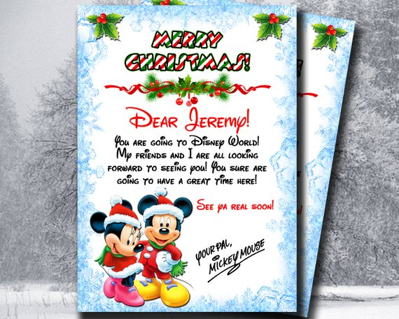 Personalized Letter From Mickey Mouse Christmas Disney Letter