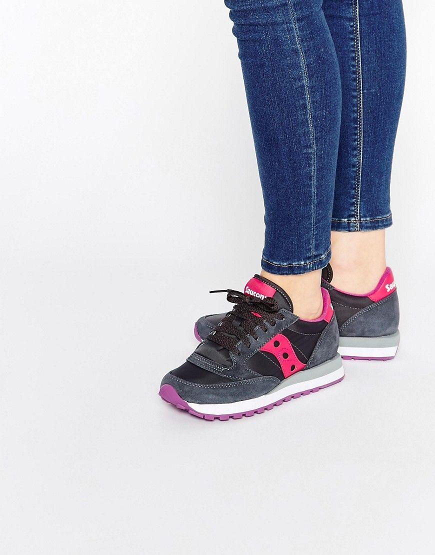 nuovo arriva valore eccezionale scarpe di separazione Saucony+Jazz+Original+Charcoal+&+Pink+Trainers (con imágenes ...
