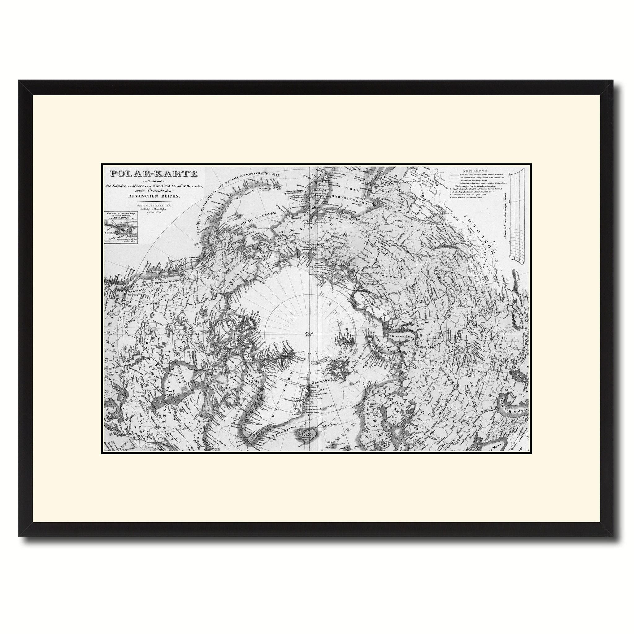 North Pole Stieler Vintage B&W Map Canvas Print, Picture Frame Home Decor Wall Art Gift Ideas
