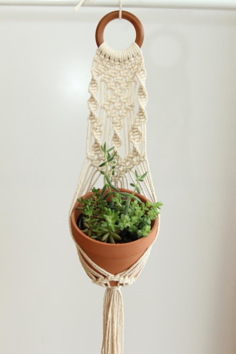 DIY Macrame Kit for Beginners Make your own Beige Plant Hanger 100/% Cotton Rope 5mm