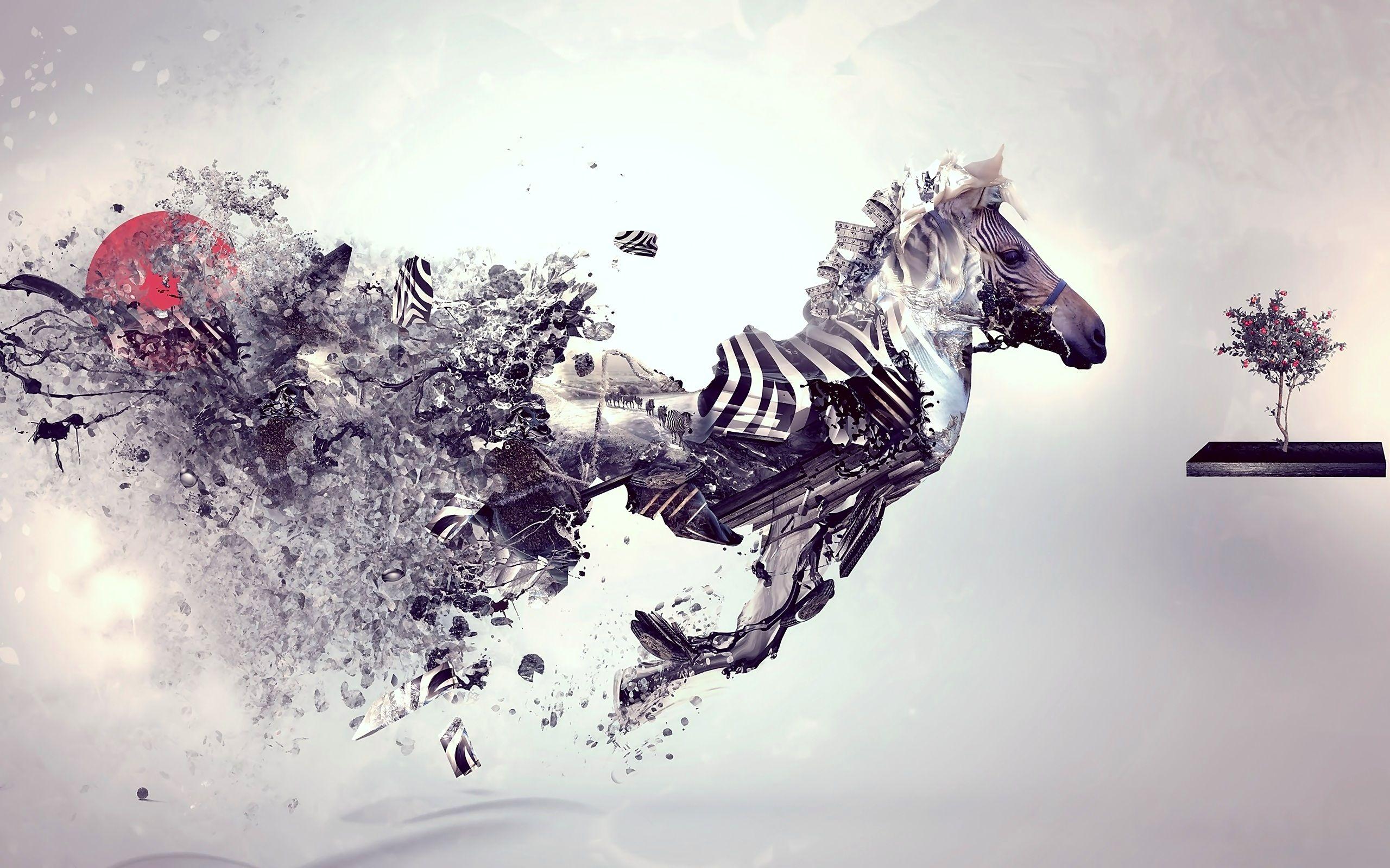 Digital Art Beautiful Zebra Free Bright Wallpapers Cool