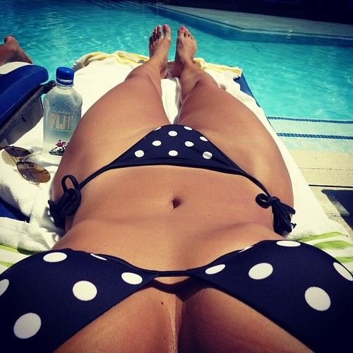 Looking kinda cute in that polka dot bikini