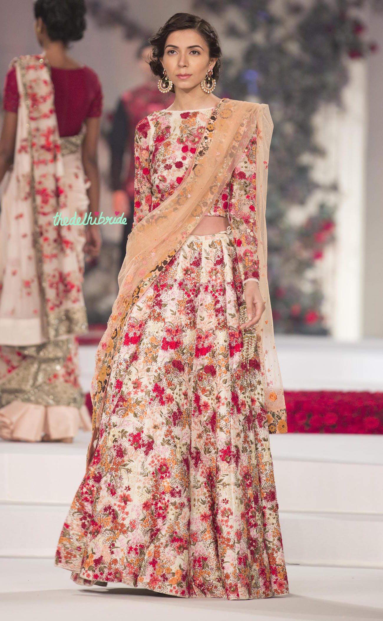 floral pink and peach lehnga varun bahl. desi bridals. | desi ...