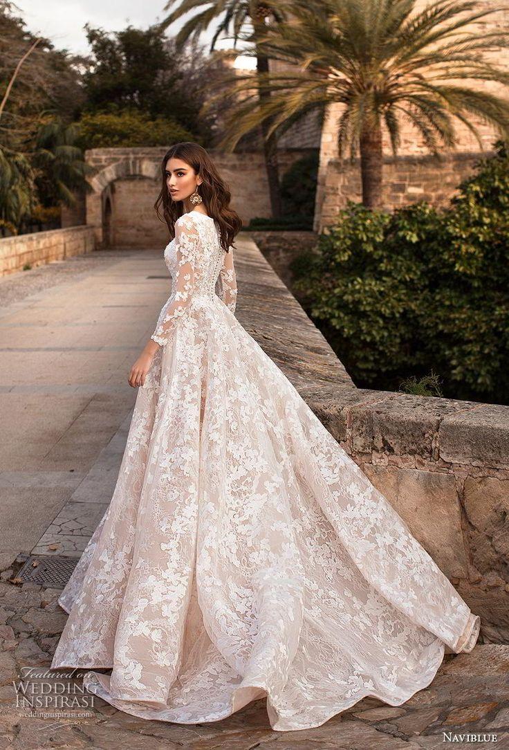 naviblue 2019 Braut lange Ärmel Bateau Hals volle Verzierung elegant …