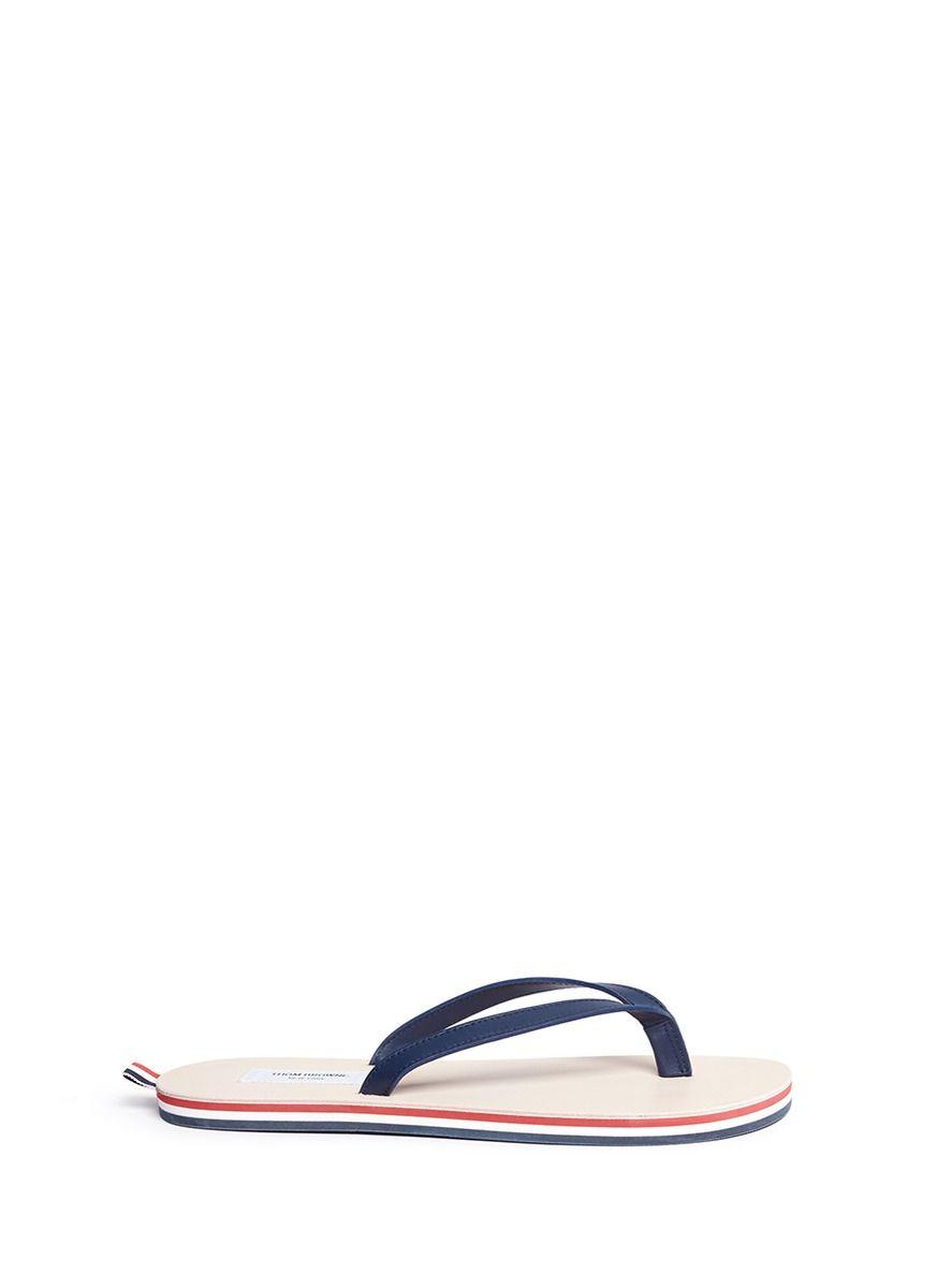 eea240706d7da THOM BROWNE Stripe leather flip flops.  thombrowne  shoes  sandals ...