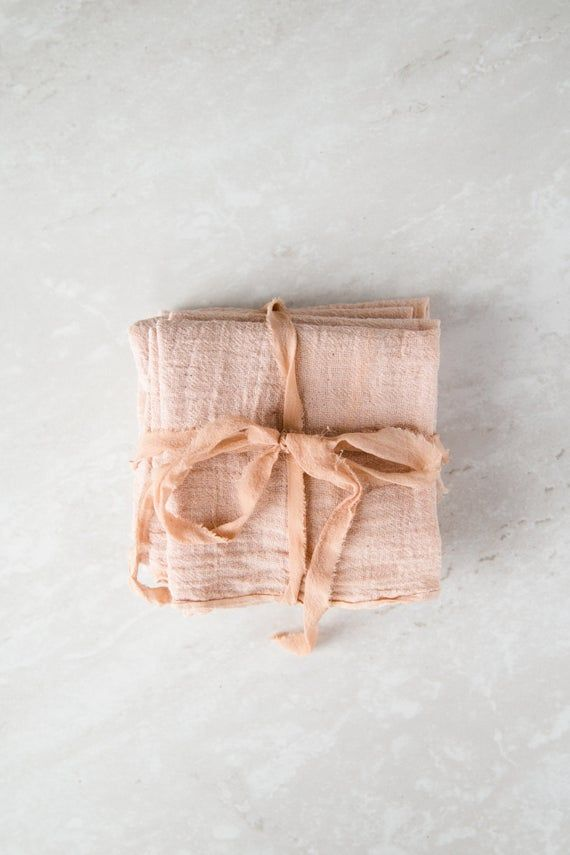 Blush Pink Cotton Gauze Plant Dyed Naturally Dyed Cloth Napkin Set or Single Napkin Zero Waste Eco F #clothnapkins